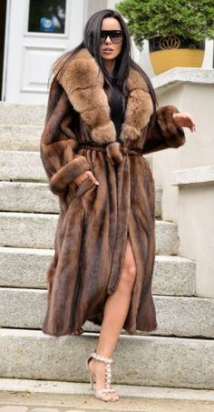 NEW SUPERIOR MINK FUR LONG TRENCH COAT CLASS OF SABLE CHINCHILLA FOX JACKET VEST