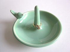 Ring holder Ring Dish Jewelry holder   mint by DarriellesClayArt, $20.00