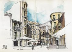 Luis Ruiz: Captando la luz / capturing the light Watercolor Journal, Watercolor Sketch, Watercolor Illustration, Graphic Design Illustration, Watercolor Architecture, Architecture Drawings, Architecture Portfolio, Travel Sketchbook, Art Sketchbook