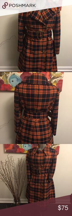 "Plaid Wool Coat Vintage plaid wool coat. Excellent condition. Navy and orange with gold accent buttons and buckle. Side pockets. Approximate measurements are Shoulder to hem 39"", arm length 23"", cross chest under arm pits 20"". There is no size in the coat. It approximately an 8-10. ** No Trades ** braefair Jackets & Coats Pea Coats"