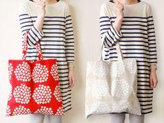 misuzu113: marimekko Tote Bag Marimekko Bag, Linen Bag, Sewing Box, Cotton Bag, Textiles, Embroidery Stitches, Purses And Bags, Print Patterns, Sewing Projects