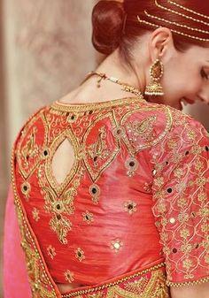 Pink Silk Saree with Embroidery Work Lehenga Choli Online, Indian Sarees Online, Silk Saree Blouse Designs, Blouse Patterns, Indian Dresses, Indian Outfits, Hand Embroidery Dress, Embroidered Blouse, Peach Saree