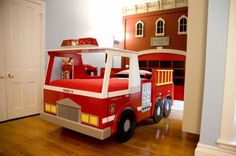 cute boy's firehouse/firetruck bedroom