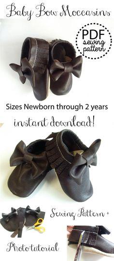 Baby Bow Mokassins Fringe Leather PDF Sewing Pattern Tutorial