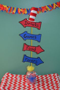 Miniature Dr Seuss inspired table top party sign by SwitzersSweets, $15.00