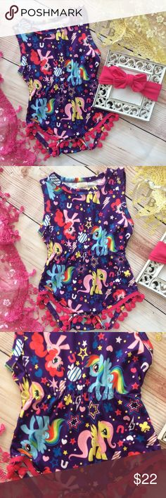 Baby Girl My Little Pony Pom Pom Romper 2pc Cute baby girl purple romper with Colorful Pony Print. Gathers at waist and hot pink Pom Pom fringe at legs. Includes hot pink headband. One Pieces