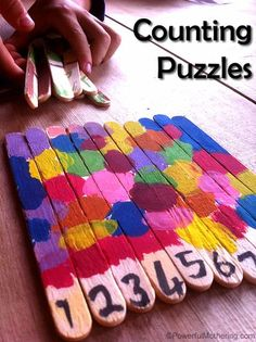 Counting Popsicle Stick Puzzles - Fun Arts and Crafts for Kids #counting #finemotor #art #color #toddler #preschool