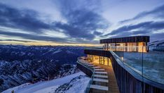 Located at an altitude of more than 2,200 metres atop Mount Nebelhorn in southern Germany, a privileged location with panoramic views over the Bavarian Alps, the new Nebelhorn Summit Restaurant by Austrian architectural practice Hermann Kaufmann ZT is harmoniously integrated into its natural surroundings.