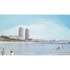 "Barcelona Art Market ""Barcelona beach IV""  Technique: OIL painting on canvas mounted on a wooden frame Artist: SERGI CASTIGNANI Size: 41 x 24 cm / 16.1 x 9.4 inches #painting"