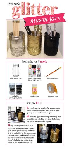let's make: glitter mason jars - [[MORE]]perfect for a flower vase, pen holder, cutlery holder, and a thousand other everyday things Mason Jar Projects, Mason Jar Crafts, Mason Jar Diy, Fun Crafts, Arts And Crafts, Glitter Mason Jars, Glitter Crafts, Deco Table, Diy Wedding Decorations