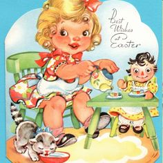 Etsy の Little Girl's Tea Party Vintage by poshtottydesignz Kids Birthday Cards, Tea Party Birthday, Birthday Greeting Cards, Happy Birthday Vintage, Happy Birthday Greetings, Vintage Greeting Cards, Vintage Postcards, Girls Tea Party, Cat Cards