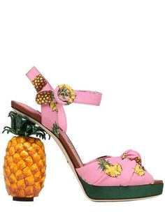 DOLCE & GABBANA - 140MM KEIRA PINEAPPLE CADY SANDALS - SANDALS - PINK/MULTI - LUISAVIAROMA - 140mm Wooden pineapple heel. 30mm Cady covered external platform . Adjustable buckle closure . Knot detail . Print placement may vary . Leather insole. Leather sole