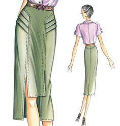 Mid-length skirt with unequal panels that create a mini effect in front at the centre, and sharp side pleats. To be made out of cotton gabardine.  Marfy F3079.