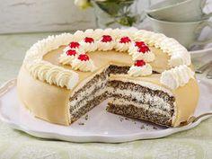 Mohn-Marzipan-Torte backen – so geht's – Yummy's Gourmet Cakes Cheesecake Recipes, Cupcake Recipes, Baking Recipes, Dessert Recipes, Cheesecake Cookies, Gourmet Cakes, Food Cakes, Torte Au Chocolat, Chocolates Gourmet