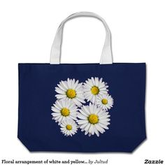 Floral arrangement of white and yellow daisies large tote bag.