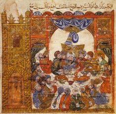 Abu Zayd at a wedding banquet at a beggars' mansion in Cairo in Maqāmāt of al-Hariri, St. Petersburg manuscript C-23, c. 1225-35AD