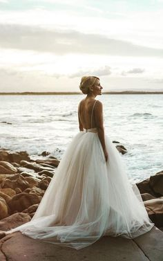 stunning low open back tulle ballgown beach wedding dress