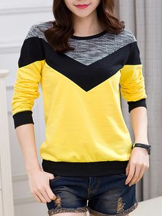Casual Color Block Round Neck Sweatshirt Source by outfit Stylish Outfits, Cool Outfits, Look Fashion, Fashion Outfits, Cheap Fashion, Sweatshirt Outfit, Dresses With Leggings, Blouses For Women, Women's Blouses