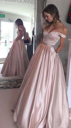 Prom Dresses 2017, Off the Shoulder Prom Dress, Ball Gown, Pearl Pink Prom Dress, A-line Long Prom Gown, Teens Party Dress, Senior Prom Dresses, Long Evening Dress