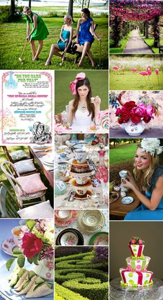 Mood board for bridal shower party....have included this because we think it is a fabulous idea.  Go with a vintage  tea party theme, have a pleasant & relaxed afternoon, and include some fun lawn games, finished with and evening of cocktails/champagne!