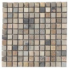 Slate Mosaic - 1 X 1 Autumn Slate Mosaic - Tumbled