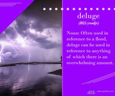 Deluge - Noun: Often used in reference to a flood, deluge can be used in reference to anything of which there is an overwhelming amount. This definition brought to you by regency historical author Ayr Bray, who is also a Jane Austen fan or Janeite. Her favorite book is Pride and Prejudice.