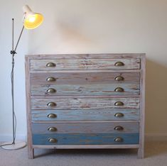 beach hut style chest of drawers reclaimed wood and multi blue paint Seaside Bedroom, Nautical Bedroom, Seaside Decor, Beach House Decor, Bedroom Decor, Home Decor, Coastal Bedrooms, Bedroom Ideas, Coastal Decor