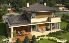 Double story house plan build on square meters Modern House Plans, Modern House Design, Style At Home, Double Story House, Storey Homes, Grand Homes, Bedroom House Plans, Roof Design, Stone Houses