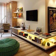 Ideia para móvel de tv. Ótima ideia para o canto das paredes #decor #decorblog #blogalmocodesexta