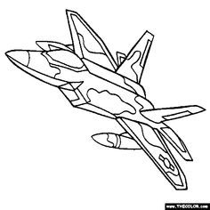 Military Jet Fighter Airplane Coloring Page  Cinco  Pinterest