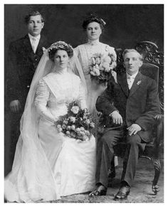 1910 Detroit wedding.  Guess they didn't say 'smile' in those days!
