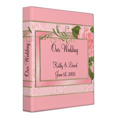 Peach Roses Wedding 3 Ring Binders ................  Save your favorite wedding pictures and a copy of your invite, marriage license, receipts and other memories in this binder. More colors available in my Zazzle store.