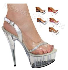 "5"", 6"", 7"" or 8"" Karo's Clear n' Silver Patent Slingback Designer Shoes w/Rhinestone Trim on a Clear High Heel Platform - Sizes 5-14. #0335 