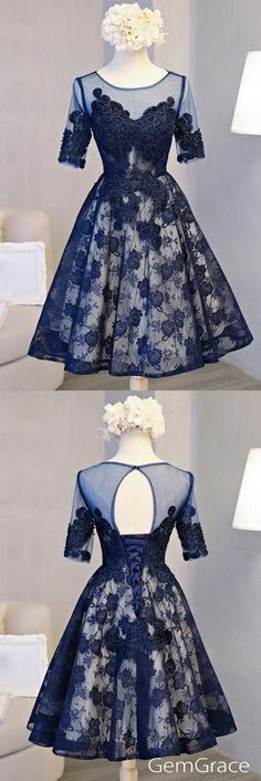 Navy blue lace tulle prom party dress