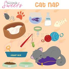 Cat Nap Clip Art Set by danger0usangel03 on Etsy, $5.00 #cat #kitty #kitten #clipart #catnap #printable #clipart
