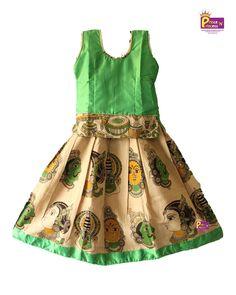 Kids Light Green Kalamkari pattu Pavadai Langa Easy buy at www.princenprincess.in