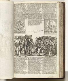 Anonymous | Eerbewijzen van de Spanjaarden aan Karel III, 1706, Anonymous, 1706 | De Spanjaarden (rechts) knielen en bewijzen eer aan de aartshertog Karel van Oostenrijk (Karel III). Bovenaan twee medailles waarin Lodewijk XIV door koningin Anna wordt verslagen (slag bij Ramillies, 23 mei 1706) en de dood van Abimelech door een vrouw (het ontzet van Barcelona, 12 mei 1706). In de plaat 3 kolommen verzen in het Nederlands en Frans. Blad nr. 25 (genummerd rechtsboven) in de serie van 25 bladen…