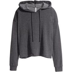 H&M Short hooded top ($15) ❤ liked on Polyvore featuring tops, hoodies, sweaters, outerwear, black, h&m hoodies, hoodie sweat shirt, black sweatshirt hoodie, hoodie sweatshirts and black sweatshirt