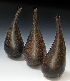 The Soluble Salt Ceramics of Mark Goudy and Liza Riddle ~    Three Vessels, Liza Riddle