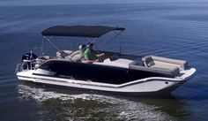 Bayliner Element XR7: Both this Bimini top and the black hull sides come standard. @baylinerboats