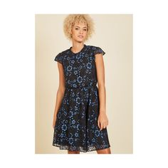 Vintage Inspired Long Short Sleeves A-line Fanfare Variable Lace Dress (615 SEK) ❤ liked on Polyvore featuring dresses, apparel, blue, blue dress, long lace dress, long blue dress, lace a line dress and short-sleeve lace dresses