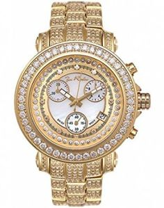 dc037d77ceacb a close-up view of a yellow gold watch with lots of diamonds Diamond Watches