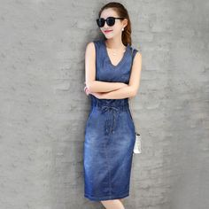 2016 Denim Dress Women fashion Casual V Neck Sleevele Sexy Summer vintage shirt Dress Vestidos Plus Size Dresses