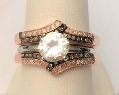 14k Rose Gold Antique Vintage Champagne Diamonds Ring Guard Wrap Solitaire Enhancer by RG&D