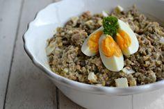 Čočkový salát s tuňákem Oatmeal, Grains, Salads, Healthy Recipes, Healthy Food, Lunch, Beef, Breakfast, Fitness