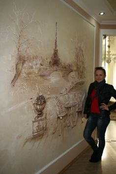 Paris plaster- work painting on the wall одноклассники Decorative Plaster, Plaster Art, Plaster Walls, Mural Art, Wall Murals, Wall Art, Wall Sculptures, Sculpture Art, Rustic Wall Decor