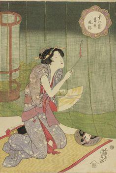 Utagawa Kunisada(歌川国貞)「星の霜当世風俗 (蚊やき)」。