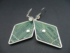 Earring - unimatrix 0 - printed circuit board, PCB earrings, motherboard
