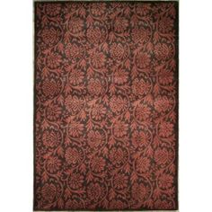Handmade Rectangular Modern Style Area Rug in Black with Burgundy Accents, 8x10 area rugs