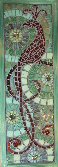 Scarlet Bird of Paradise, Mosaic Window art, Suncatcher. $350.00, via Etsy.
